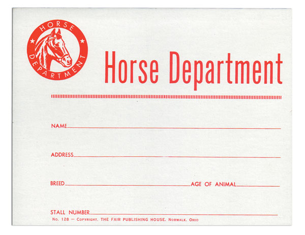 #128 - Horse Dept. Stall Card