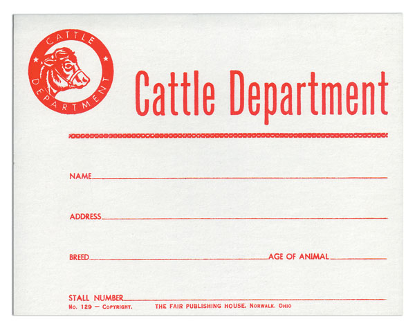 #129 - Cattle Dept. Stall Card