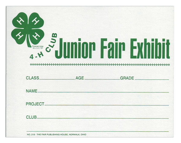 #218 - 4-H Exhibit Card