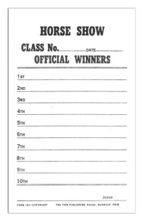#121 - Horse Show Judge�s Score Card