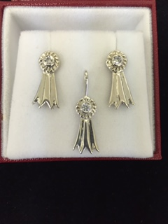 #3004 - Sterling Silver Rosette Earrings w/Cubic Zirconia 1/2